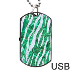 Skin3 White Marble & Green Marble Dog Tag Usb Flash (two Sides)