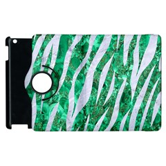 Skin3 White Marble & Green Marble Apple Ipad 3/4 Flip 360 Case