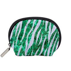 Skin3 White Marble & Green Marble Accessory Pouches (small)  by trendistuff
