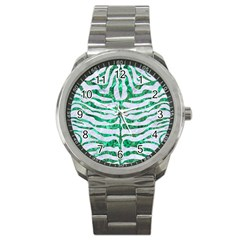 Skin2 White Marble & Green Marble (r) Sport Metal Watch