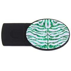 Skin2 White Marble & Green Marble (r) Usb Flash Drive Oval (4 Gb)