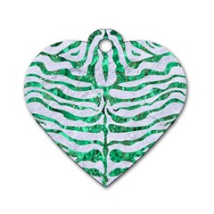 Skin2 White Marble & Green Marble (r) Dog Tag Heart (one Side)