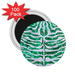 Skin2 White Marble & Green Marble 2 25  Magnets (100 Pack)