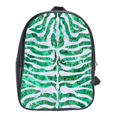 Skin2 White Marble & Green Marble School Bag (xl)