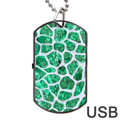 Skin1 White Marble & Green Marble (r) Dog Tag Usb Flash (two Sides)