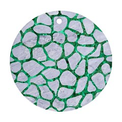 Skin1 White Marble & Green Marble Ornament (round)