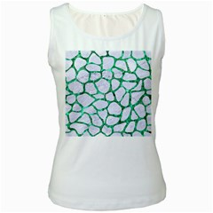 Skin1 White Marble & Green Marble Women s White Tank Top