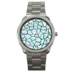 Skin1 White Marble & Green Marble Sport Metal Watch