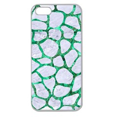 Skin1 White Marble & Green Marble Apple Seamless Iphone 5 Case (clear)