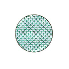 Scales3 White Marble & Green Marble (r) Hat Clip Ball Marker