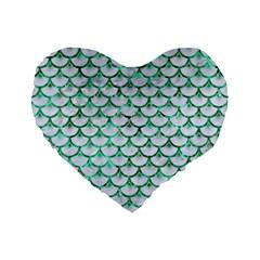 Scales3 White Marble & Green Marble (r) Standard 16  Premium Flano Heart Shape Cushions