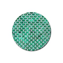 Scales3 White Marble & Green Marble Rubber Coaster (round)