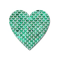 Scales3 White Marble & Green Marble Heart Magnet