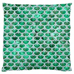 Scales3 White Marble & Green Marble Large Cushion Case (two Sides)