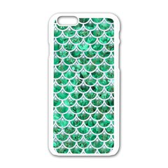 Scales3 White Marble & Green Marble Apple Iphone 6/6s White Enamel Case
