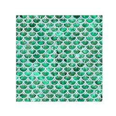 Scales3 White Marble & Green Marble Small Satin Scarf (square)
