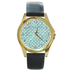 Scales2 White Marble & Green Marble (r) Round Gold Metal Watch