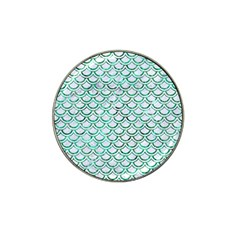 Scales2 White Marble & Green Marble (r) Hat Clip Ball Marker (10 Pack)