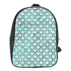 Scales2 White Marble & Green Marble (r) School Bag (large)