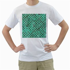 Scales2 White Marble & Green Marble Men s T Shirt (white) (two Sided)