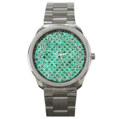 Scales2 White Marble & Green Marble Sport Metal Watch