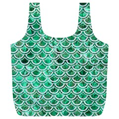 Scales2 White Marble & Green Marble Full Print Recycle Bags (l)