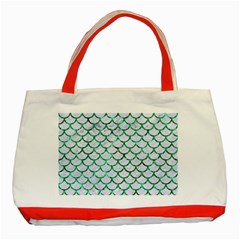 Scales1 White Marble & Green Marble (r) Classic Tote Bag (red)