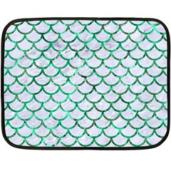 Scales1 White Marble & Green Marble (r) Double Sided Fleece Blanket (mini)