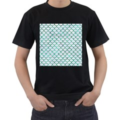 Scales1 White Marble & Green Marble (r) Men s T Shirt (black)