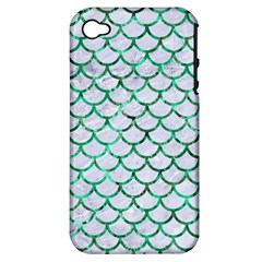 Scales1 White Marble & Green Marble (r) Apple Iphone 4/4s Hardshell Case (pc+silicone)