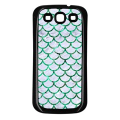 Scales1 White Marble & Green Marble (r) Samsung Galaxy S3 Back Case (black)