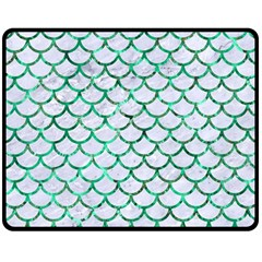 Scales1 White Marble & Green Marble (r) Double Sided Fleece Blanket (medium)