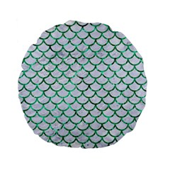 Scales1 White Marble & Green Marble (r) Standard 15  Premium Flano Round Cushions
