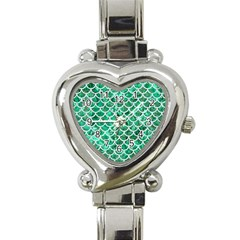 Scales1 White Marble & Green Marble Heart Italian Charm Watch