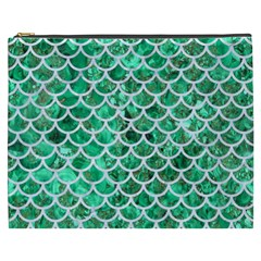 Scales1 White Marble & Green Marble Cosmetic Bag (xxxl)