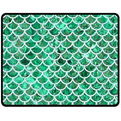 Scales1 White Marble & Green Marble Double Sided Fleece Blanket (medium)