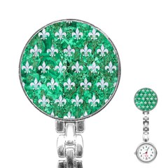 Royal1 White Marble & Green Marble (r) Stainless Steel Nurses Watch