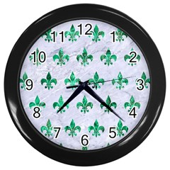 Royal1 White Marble & Green Marble Wall Clock (black)