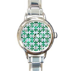 Puzzle1 White Marble & Green Marble Round Italian Charm Watch