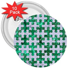 Puzzle1 White Marble & Green Marble 3  Buttons (10 Pack)