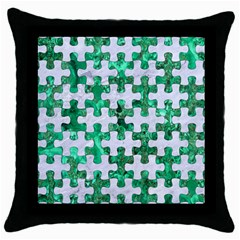 Puzzle1 White Marble & Green Marble Throw Pillow Case (black)