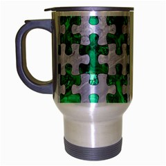 Puzzle1 White Marble & Green Marble Travel Mug (silver Gray)