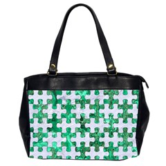 Puzzle1 White Marble & Green Marble Office Handbags (2 Sides)