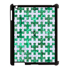 Puzzle1 White Marble & Green Marble Apple Ipad 3/4 Case (black)