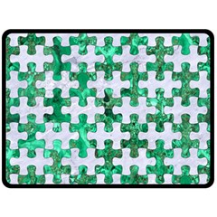 Puzzle1 White Marble & Green Marble Double Sided Fleece Blanket (large)