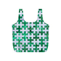 Puzzle1 White Marble & Green Marble Full Print Recycle Bags (s)