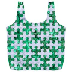 Puzzle1 White Marble & Green Marble Full Print Recycle Bags (l)