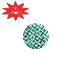 Houndstooth2 White Marble & Green Marble 1  Mini Magnet (10 Pack)