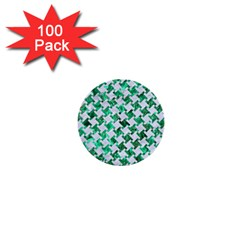 Houndstooth2 White Marble & Green Marble 1  Mini Buttons (100 Pack)