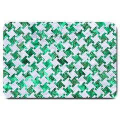 Houndstooth2 White Marble & Green Marble Large Doormat
